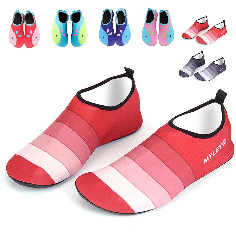 Water Shoes Adult,GFtime Women Men Barefoot Skin Sports Shoes Quick Dry Aqua Socks for Beach Swim Surf Yoga Hiking Red 7.5 B(M) 6.5 D(M)