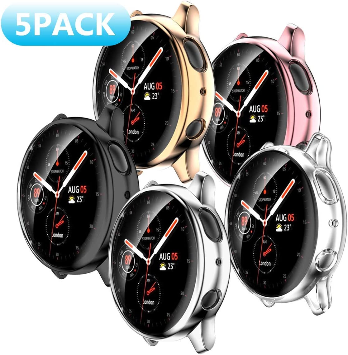 [5 Pack] Samsung Galaxy Watch Active 2 40mm Screen Protector Case,JZK Soft Slim TPU All Around Protective Shell Anti-Scratch Case Bumper Cover Case for Samsung Galaxy Active 2 40mm Accessories