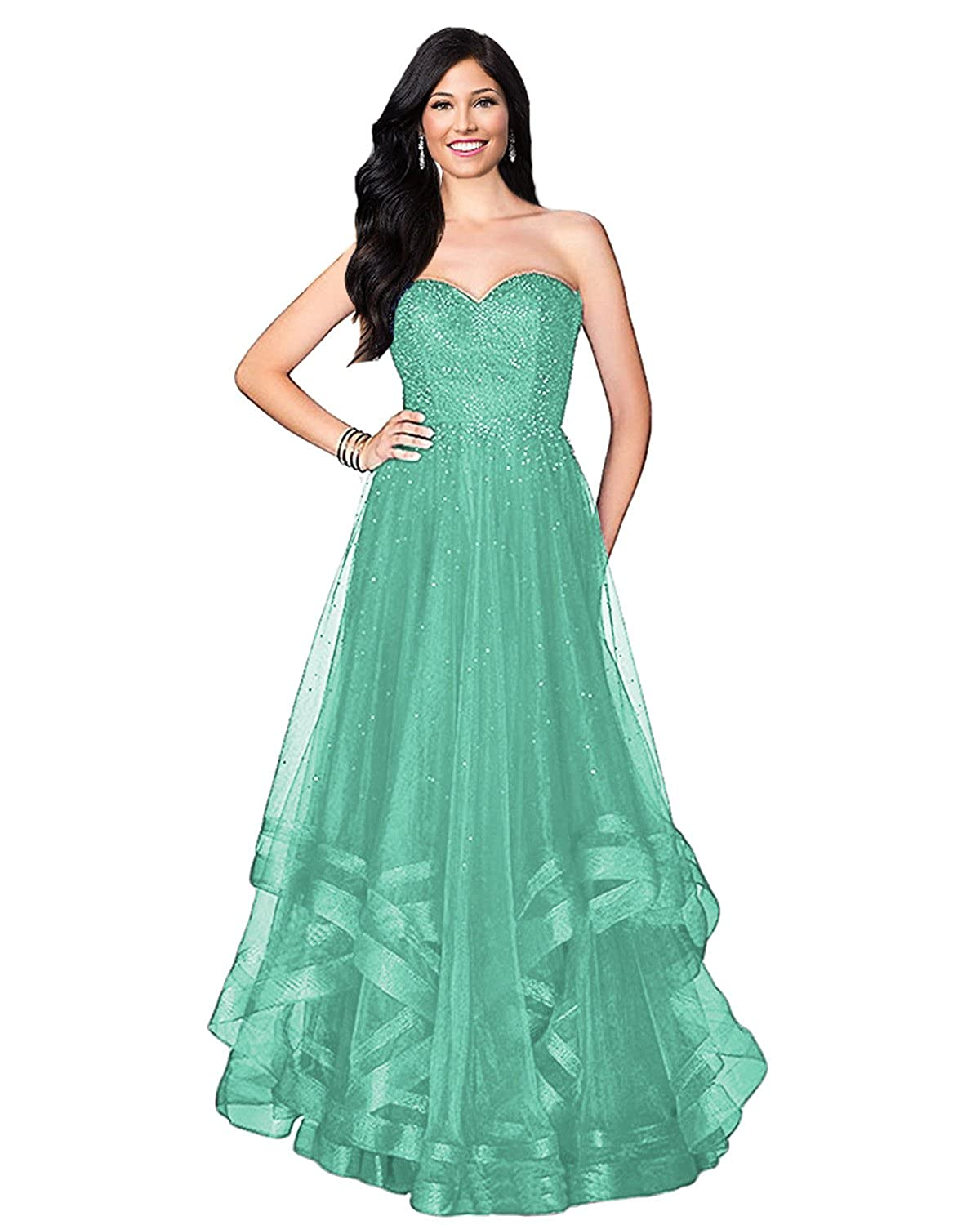 Lily Wedding Womens Beaded Tulle Prom Dresses 2018 Long Sweetheart Formal Evening Party Ball Gowns with Ruffles GD06 at Amazon Womens Clothing store: