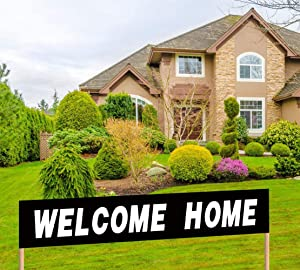 Large Black Welcome Home Banner Huge Homecoming Decoration Return Home Party Yard Sign Back Home Welcome Banner Return Home Party Supplies Decoration Welcome Home Hanging Banner (9.8 x 1.6 feet)