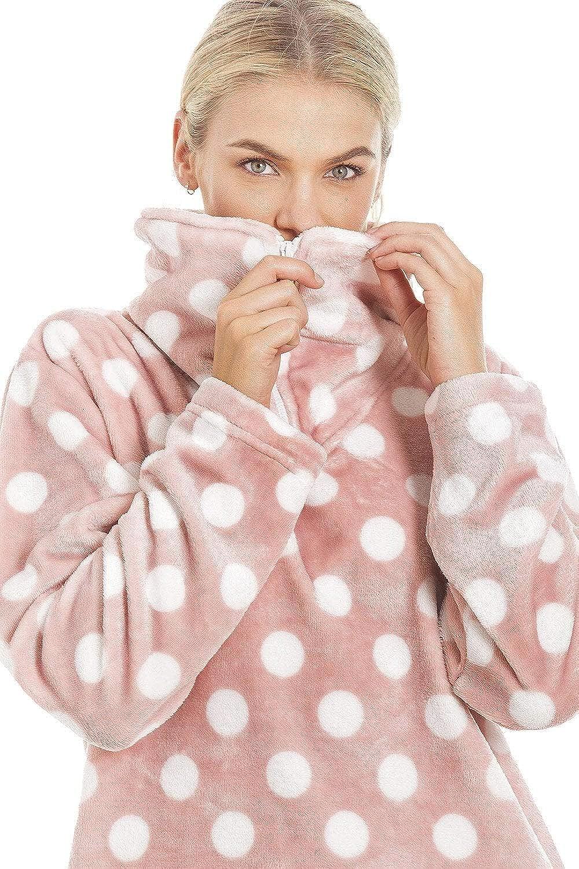 Camille Conjuntos de Pijama de Felpa Suave de Cuerpo Entero de Manga Larga para Mujer