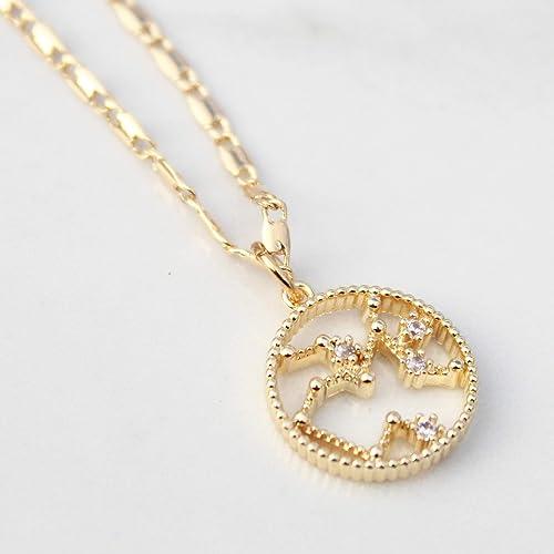 18555e270 18K Gold Plated Zodiac Star Signs Pendant Charm Necklace, Dainty Necklace,  Birthday Necklace, Birthday Gift, Personalized Gift, Personalized Necklace,  ...