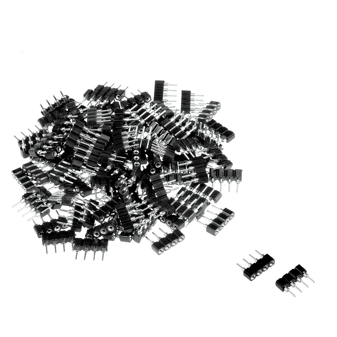 Sourcingmap 100pcs 4 Pin Male to Female Plug Header Adapter Connector Fit RGB/3528/5050 LED Chip Strip Black [Energy Class A++] a18042500ux0417