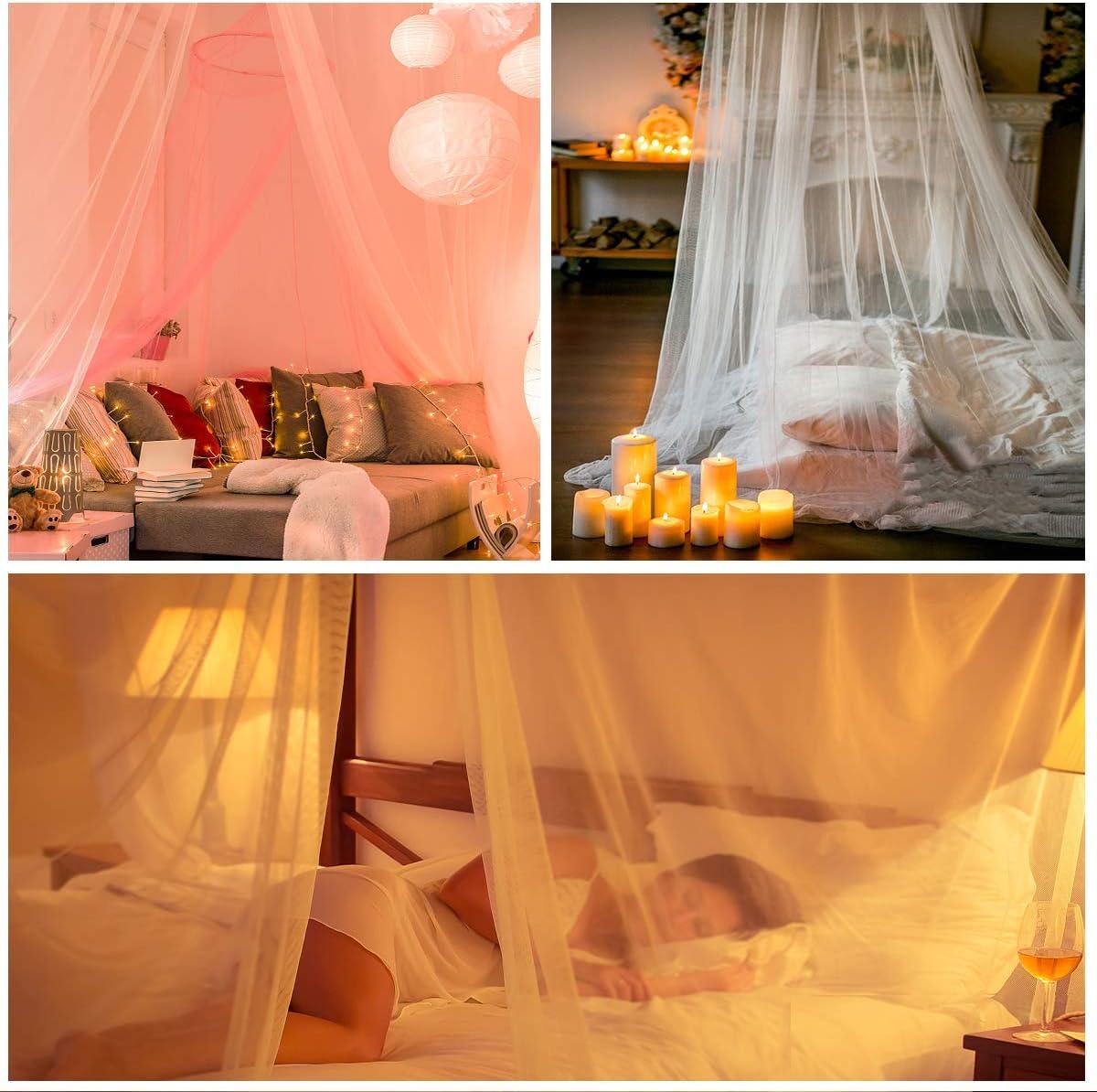 blanc cr/ème couverture de 12 m id/éale pour la maison ou les vacances Moustiquaire blanche pour auvent de lit grande tente /à suspendre pour lit double//simple