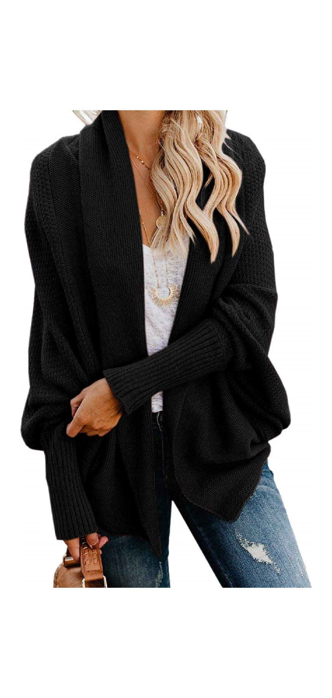 Womens Kimono Batwing Cable Knitted Slouchy Oversized