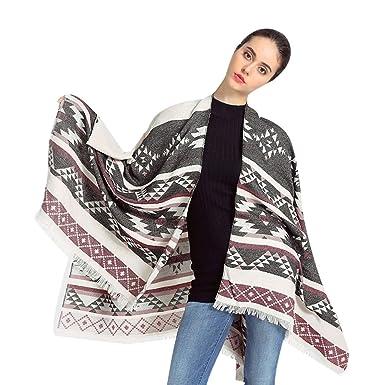 ZKOO Femme Hiver Poncho Châle Géométrique Imprimé Echarpe Chaud Faux  Cachemire Blanket Cape c59c0032472