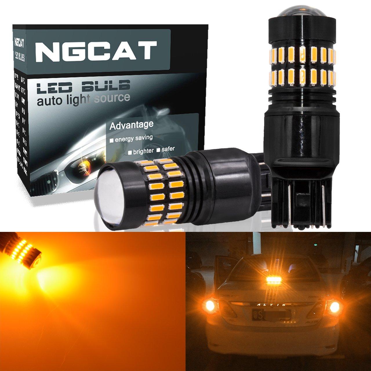 Ngcat 1200LM ambra 7443 lampadine LED molto luminoso chipset 48-smd 4014 LED T20 7444 7440 7440 NA 7441 NA 992 lampadine a LED con proiettore per luci di coda backup Reverse luci di segnalazione (confezione d