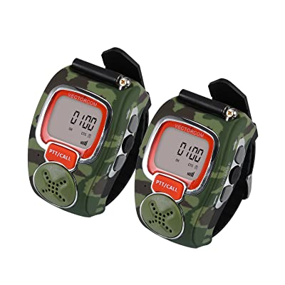 VECTORCOM RD007 Portable Digital Wrist Watch Walkie Talkie Two-Way Radio Outdoor Sport Hiking, Camouflage.462MHZ.1pair, Green : Sports & Outdoors