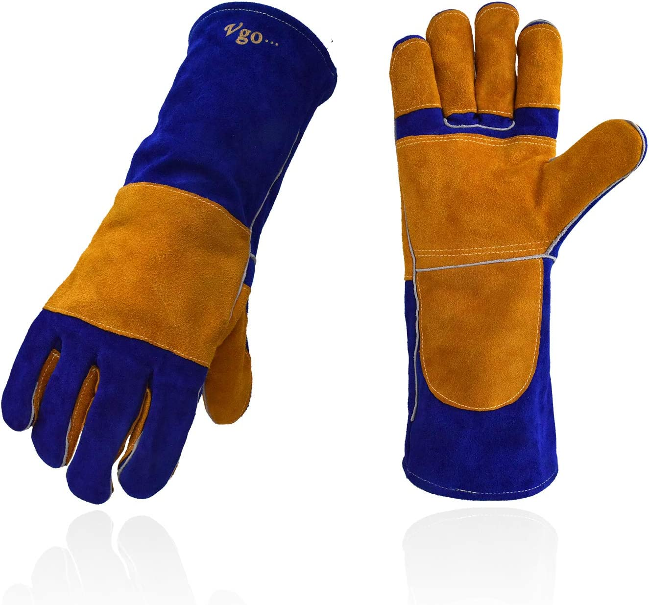 Mig 16inch, White+Blue, CB9681 Vgo 3Pairs Premium Cow Split Leather Welding Gloves For Oven Pot Holder Stove Grill Tig Welder BBQ Fireplace