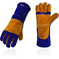 """Split Leather Fleece Lined Brown 14/"""" One Size Fits All Instapark Welding Gloves Medium Large MIG//STICK TIG Compatible"""