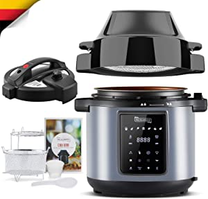 MICHELANGELO 6 QT Pressure Cooker Air Fryer Combo, All-in-1 Pressure Cooker with Air Fryer - Two Detachable Lids for Pressure Cooker, Pressure Fryer, Air Fryer, Rice,Slow Cooker,Steamer & Warmer - 6 Quart