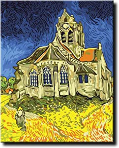 Shukqueen DIY Paint by Numbers for Adults DIY Oil Painting Kit for Kids Beginner - Van Gogh The Church at Auvers Replica 16x20 Inch (Without Frame)