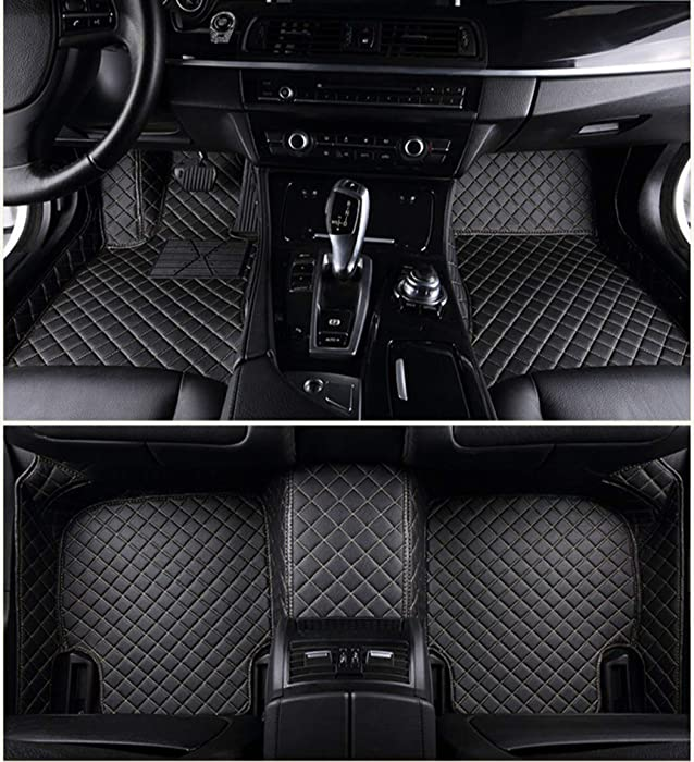 Custom Car Floor Mats for Land Rover Range-Rover-evoque 4-Door 2012-2015 Full Surrounded Waterproof Anti-Slip All Weather Protection Leather Material Car mat Carpet Liners Black Beige