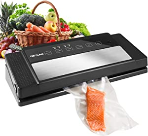 Vacuum Sealer Machine - Getlink Automatic Vacuum Air Sealing For Food Preservation,Lab Tested Dry & Moist Food Modes,Simple Operation,10 Seconds to Complete,5 Reusable Air Sealing Bags and 1 Roll Food Saver Bags Attached