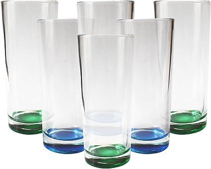 Kurtzy Vasos de Agua Highball, 300 ml, Antideslizante, Cóctel, Cerveza, Ron, Coca Cola, Jugo, Vino, Vaso de Whisky,Hi Ball Vasos Aptas para el ...