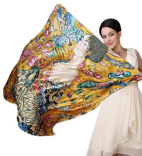 Prettystern P830 - 110cm oversize sciarpa di seta quadrata handrolled - Gustav Klimt - Signora con v...