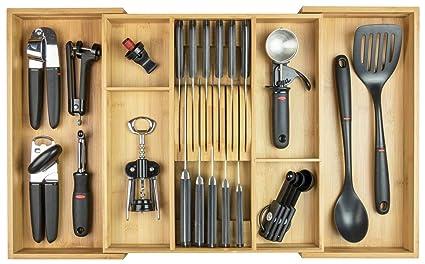 KitchenEdge cajón de la Cocina cajón para Cubiertos, expansible a 28 Pulgadas de Ancho, Tiene 11 Cuchillos, bambú