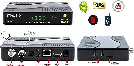 Nuevo Smart TV 4K Receptor Combinado de Android TDT HD + FreeSat HD Decodificador y Grabador de HD Satélite Sky Box Sintonizador Doble Digital Terrestre H.265 (5in1) Android 7.1 Negro: Amazon.es: Electrónica