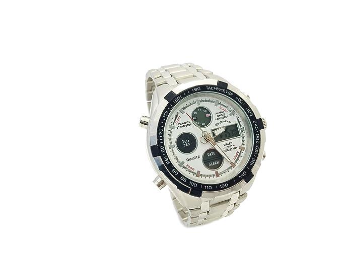 Daytona The Luxury Time Collection - Reloj Deportivo de Caballero (analógico -Digital) con Correa Tipo Acero Inoxidable Color Blanco: Amazon.es: Relojes