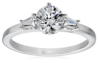 ea39a0882 Myia Passiello Essentials Swarovski Zirconia Clear Three Stone Ring, ...