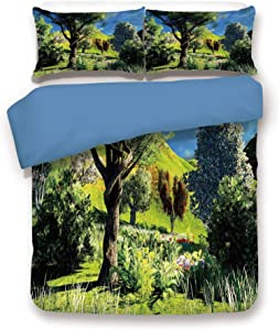 Blue 3pc Bedding Set,Rural Scenery Wilderness Forest Various Kinds of Trees Botanical Garden Image Full Duvet Cover Set,Printed Comforter Cover with 2 Pillowcases for Teens Boys Girls & Adults
