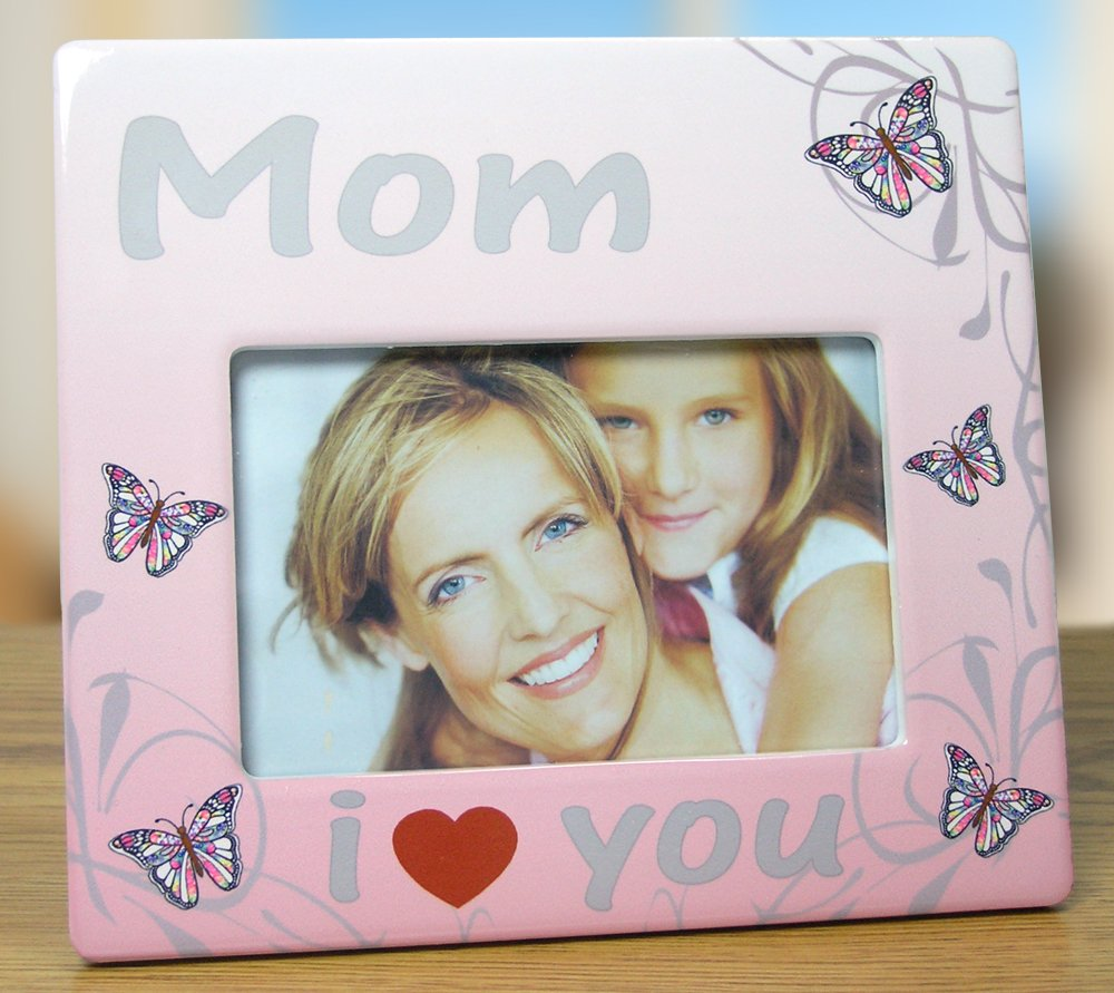 amazoncom mom frame i love you mom butterfly themed frame mother daughter picture frame new mom frame - Mother Picture Frame