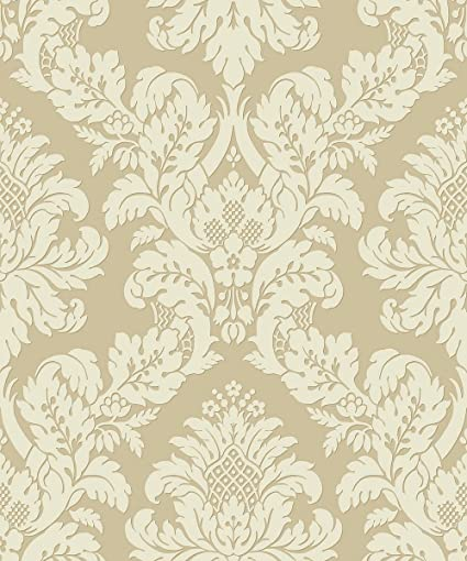Pear Tree Studios Glitter Damask Gold Cream Wallpaper Uk10483