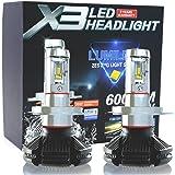 e-auto fun 車検対応 12V専用LED ヘッドライトコンパクト型 H4タイプ Hi/Lo切替 Philips Lumleds LUXEON ZESチップス採用 50W 6000LmX2 3000k/6500K/8000k再設定可能 2個セット2年保証 LMX3C001