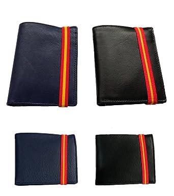 Cartera de piel y Bandera de España - Azul, Horizontal con monedero: Amazon.es: Ropa y accesorios