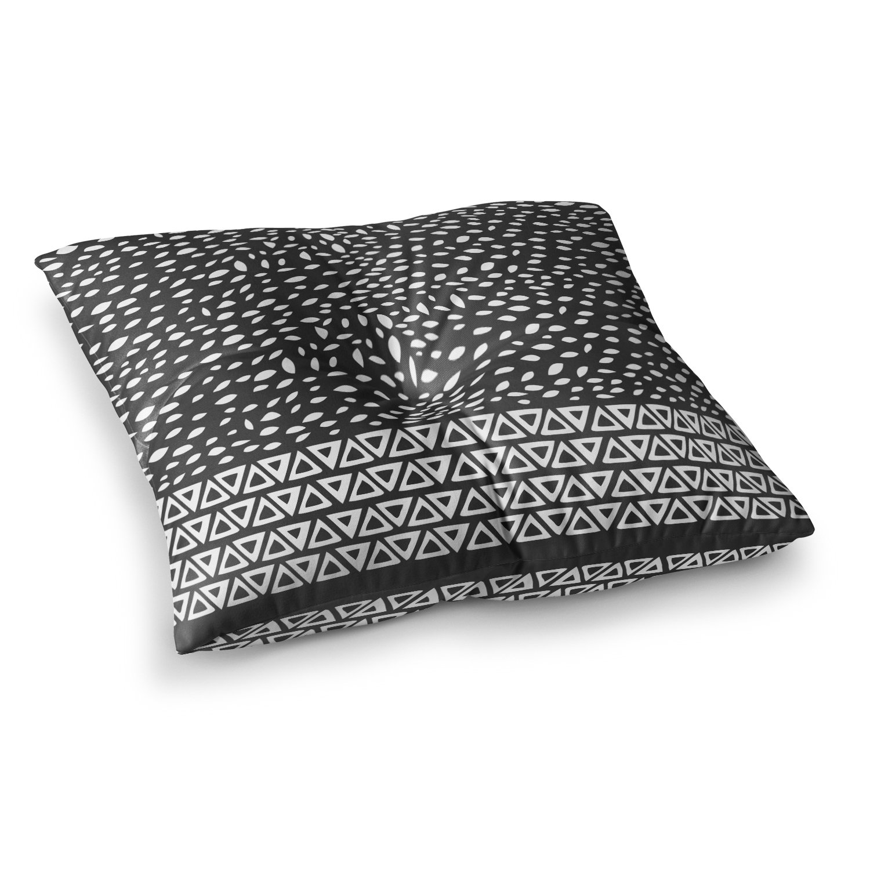 23 x 23 Square Floor Pillow Kess InHouse Pom Graphic Design Wind Night Black White