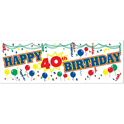 Amazon.com: Happy 40th Birthday Sign Banner Party Accessory (1