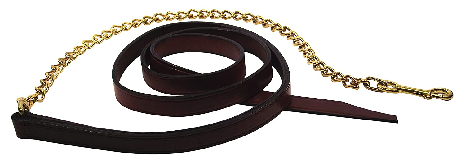 Burgundy Hamilton 1-Inch by 6-Feet Deluxe Horse Lead with 30-Inch Brass Plated Chain, Burgundy