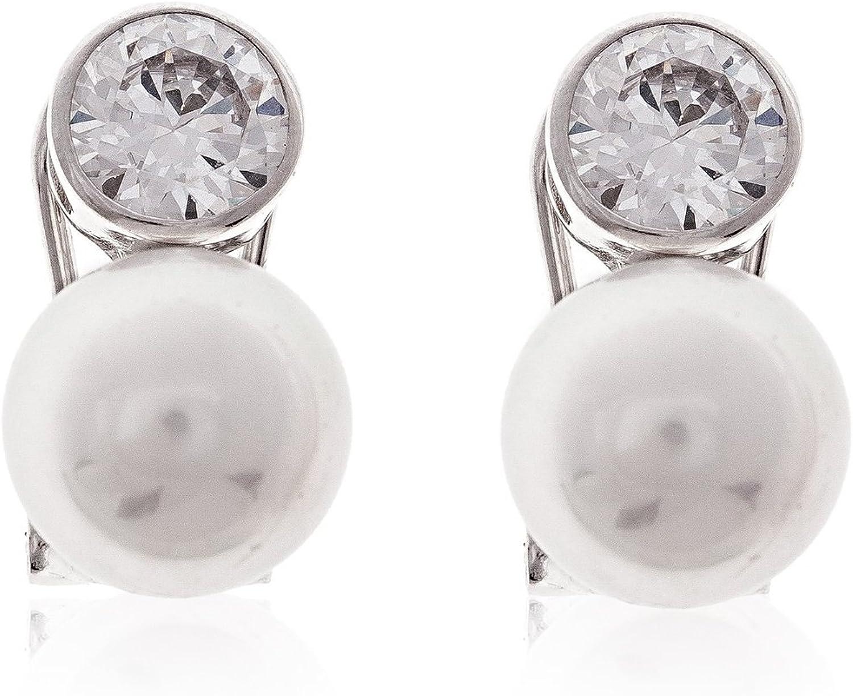 Córdoba Jewels | Pendientes en plata de Ley 925. Diseño Tú y Yo Zirconium perla Natural