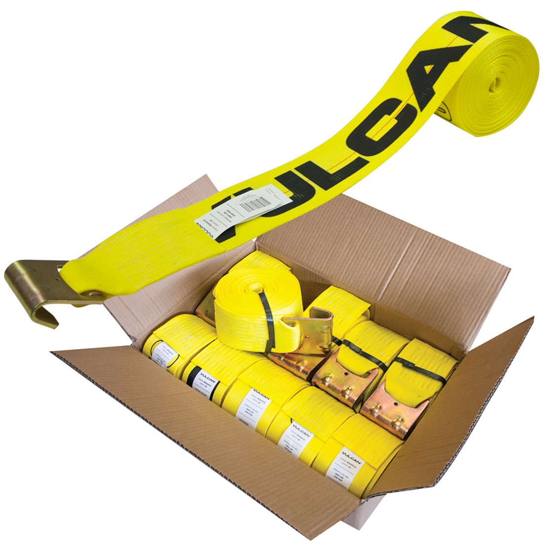 Vulcan Classic Winch Strap with Flat Hook - 5,000 lbs. Safe Working Load (4'' x 30' - Yellow - Pack of 10)