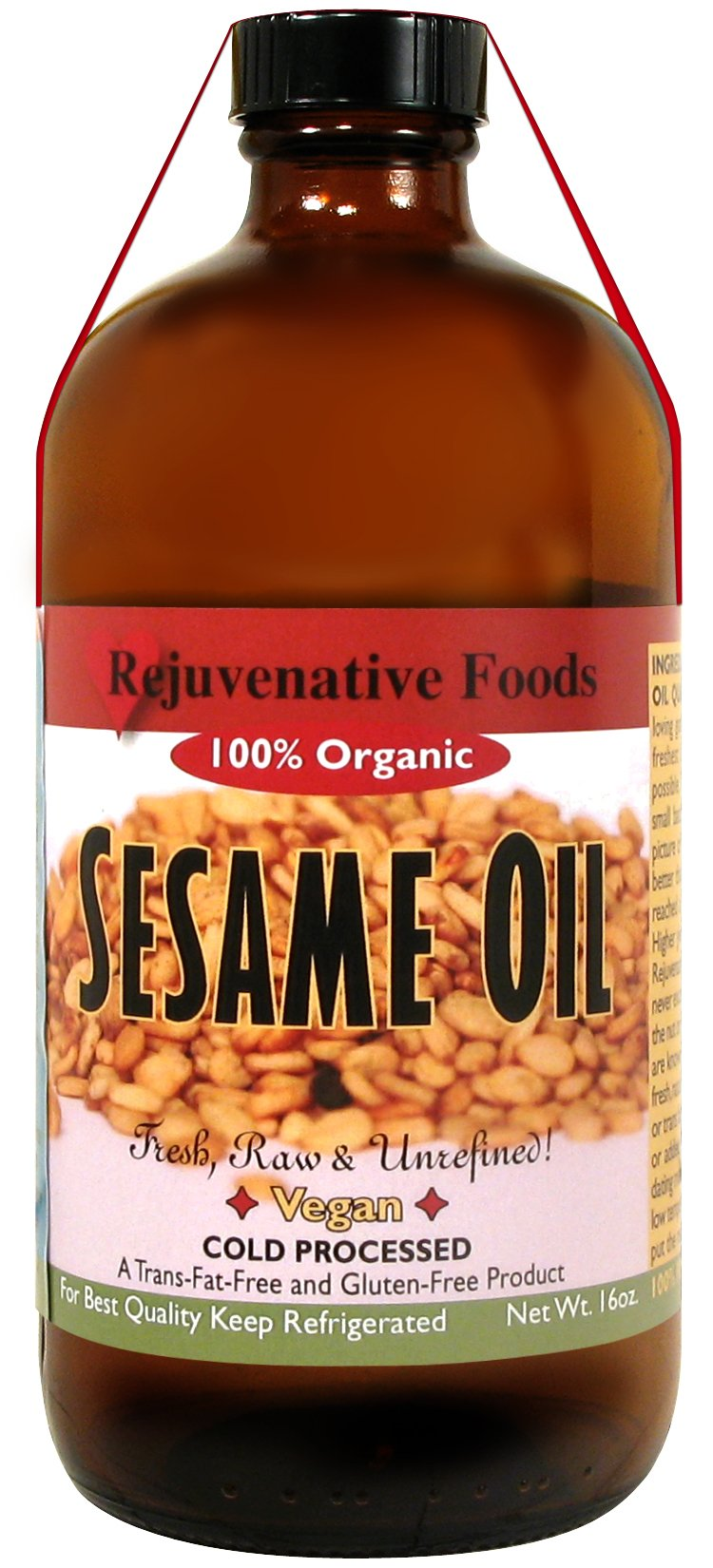 FIVE 16 oz. Extra-Virgin Fresh Raw Organic Sesame Oil Pure Rejuvenative Foods All-Low-Temp-Processed-Pressed-To-Order In-Amber-Glass-Ayurvedic Culinary-Unrefined USDA-Certified Organic (5 - 16 oz.) by Rejuvenative Foods