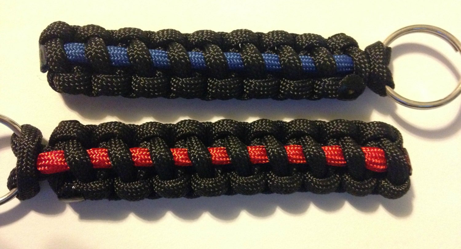 Thin Red//Blue Line Paracord Keychain