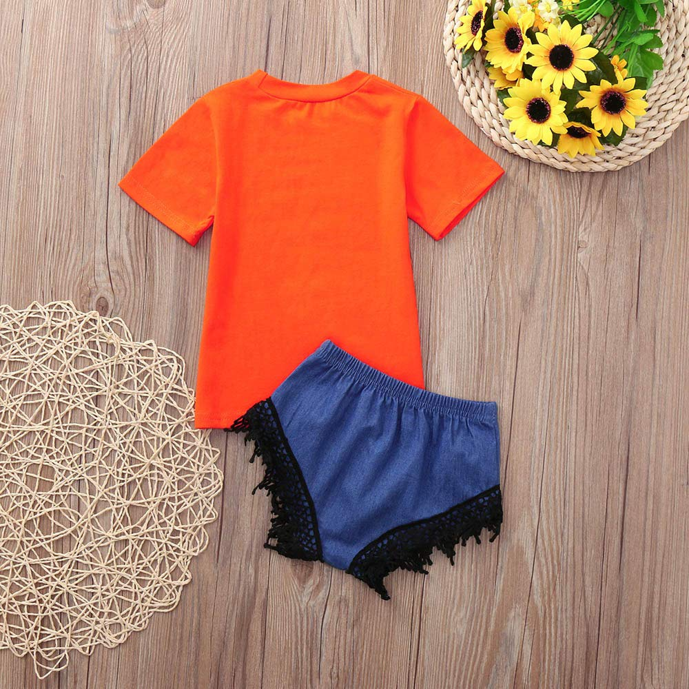 Memela Baby Clothes,Toddler Kids Baby Girl Letter T-Shirt Tops Lace Shorts Halloween Clothes Set