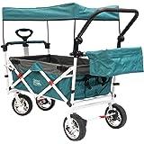 Creative Outdoor Distributor Push Pull Wagon for Kids, Foldable with Sun/Rain Shade (TEAL)