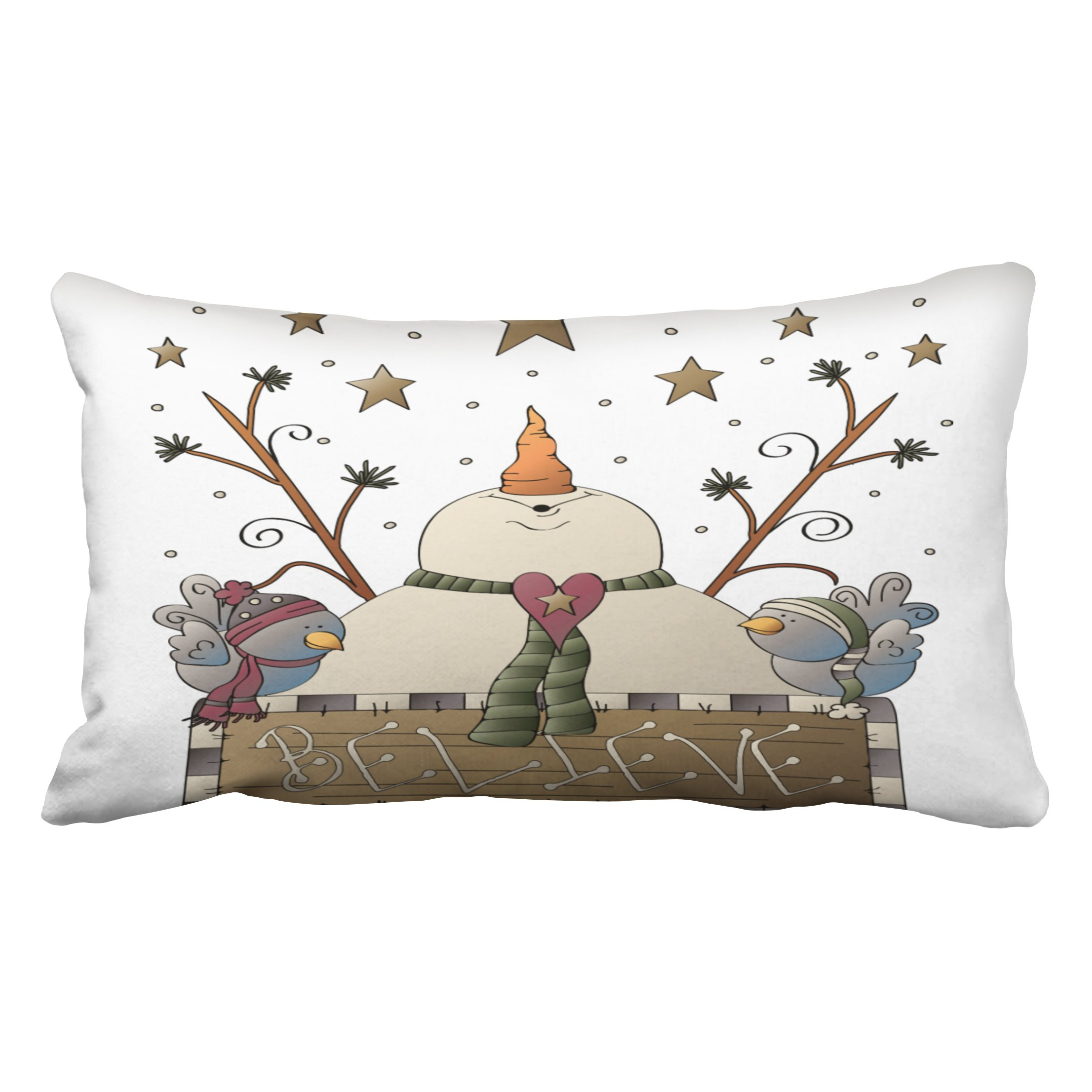 Emvency Pillowcases Christmas New Year Dec Throw Lumbar Pillow Case Snowman Snowflake Country Winter Primitive Bird Decorative Throw Pillow Cover Case Protectors King 20x36 Inches One Side Sofa Couch