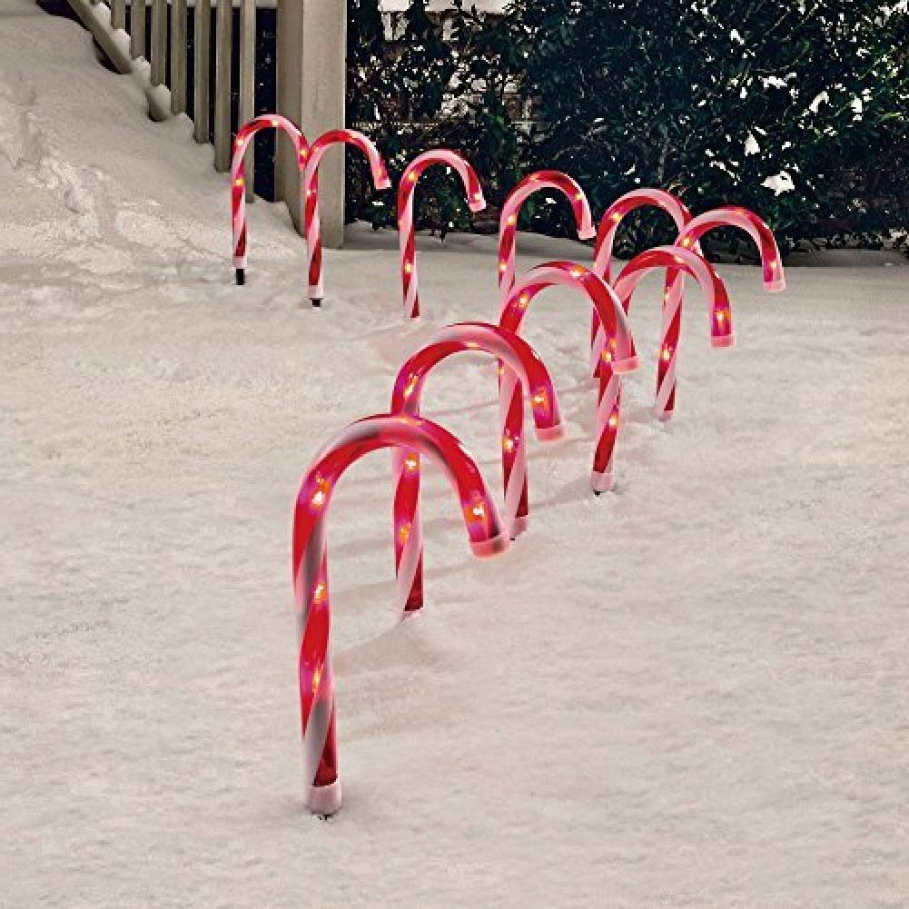 Candy Cane Pathway Markers Set of 10 Christmas Indoor//outdoor Decoration Lights Holiday Time