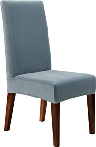Sure Fit SureFit Dining Slipcover-Stretch Pinstripe-For Short Chair Backs-Up To 42 Inches, French Blue