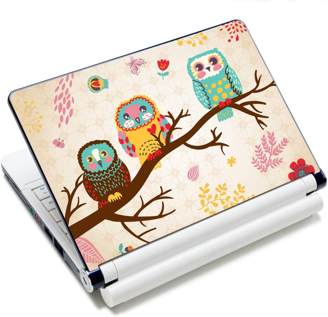Laptop Stickers Decal,12 13 14 15 15.6 inches Netbook Laptop Skin Sticker Reusable Protector Cover Case for Toshiba Hp Samsung Dell Apple Acer Leonovo Sony Asus Laptop Notebook (Cute Three Owls)