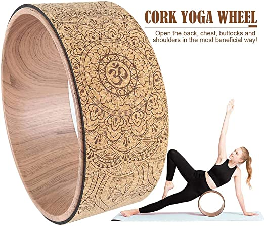 Amazon.com: Lotuny Mandala Yoga Wheel Yoga Rad Natural Cork ...