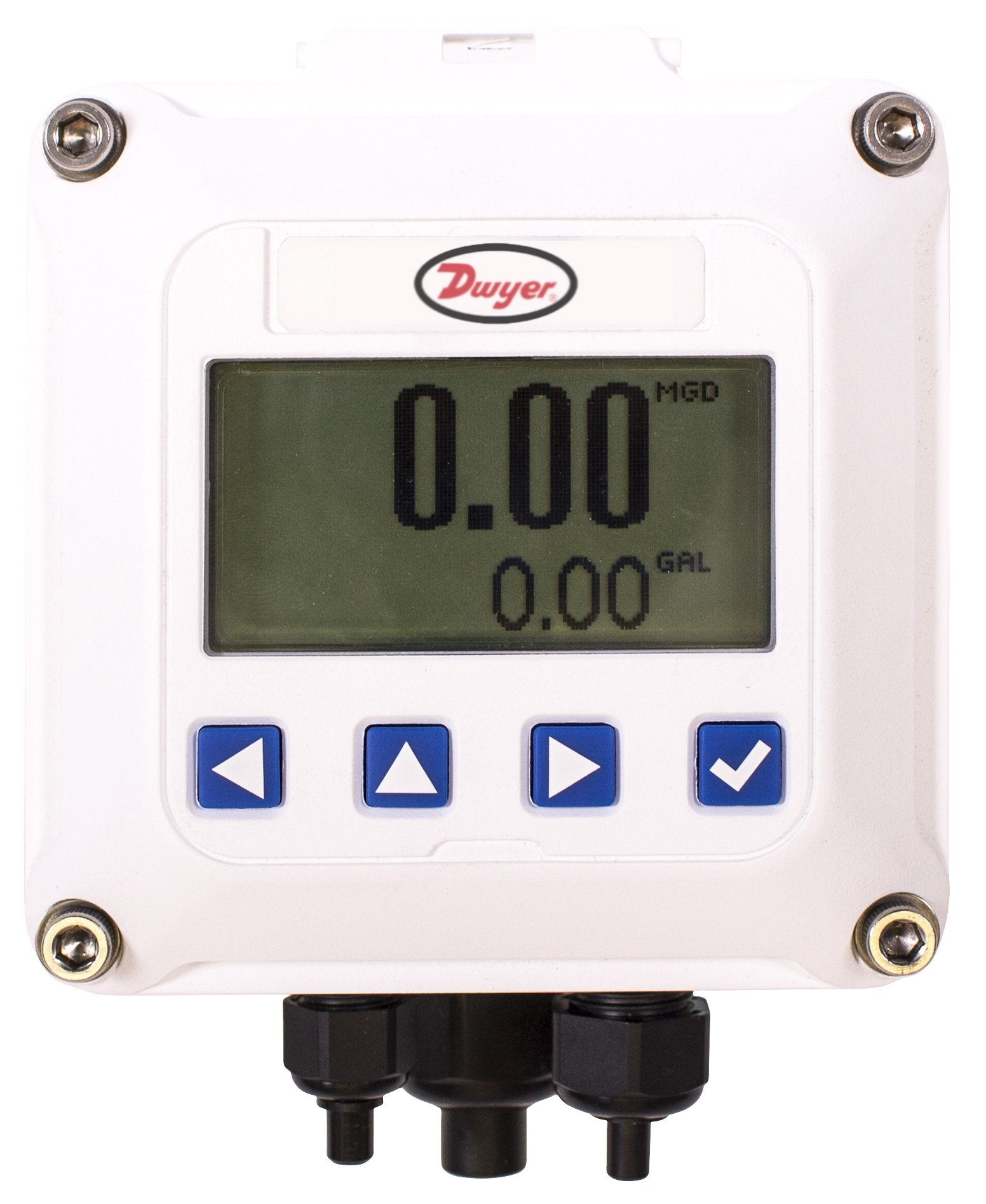 Dwyer RTI2-W Digital Rate/Total Indicator. Wall-Mounted, Loop Powered. Converts Pulse Signals from Compatible Flowmeters to Flow Rate and Total. Provides 4-20 mA Output Signal and High/Low Alarm.