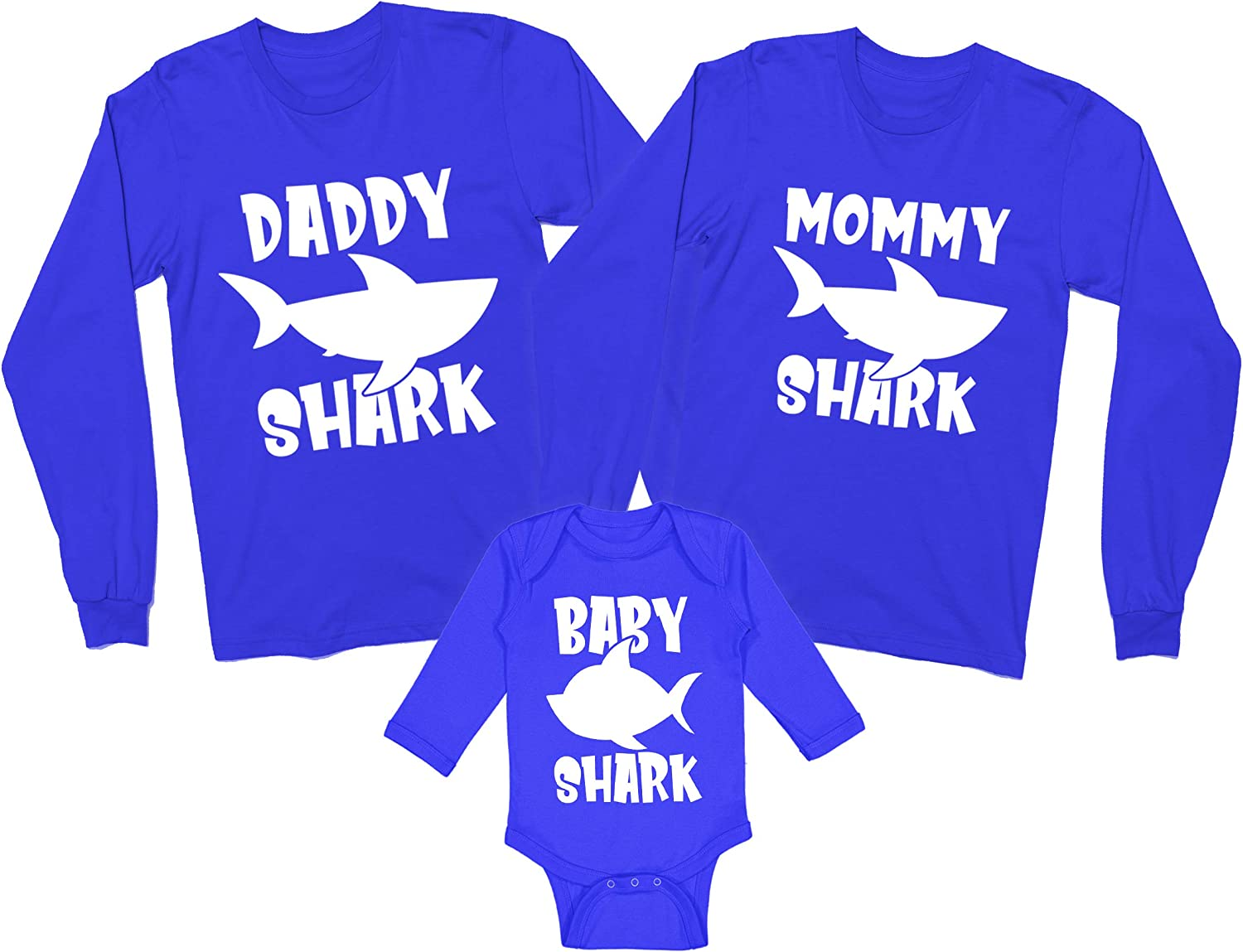 Daddy/Mommy/Baby Shark - Funny Children's Song Parody Matching Long Sleeve Family Shirts