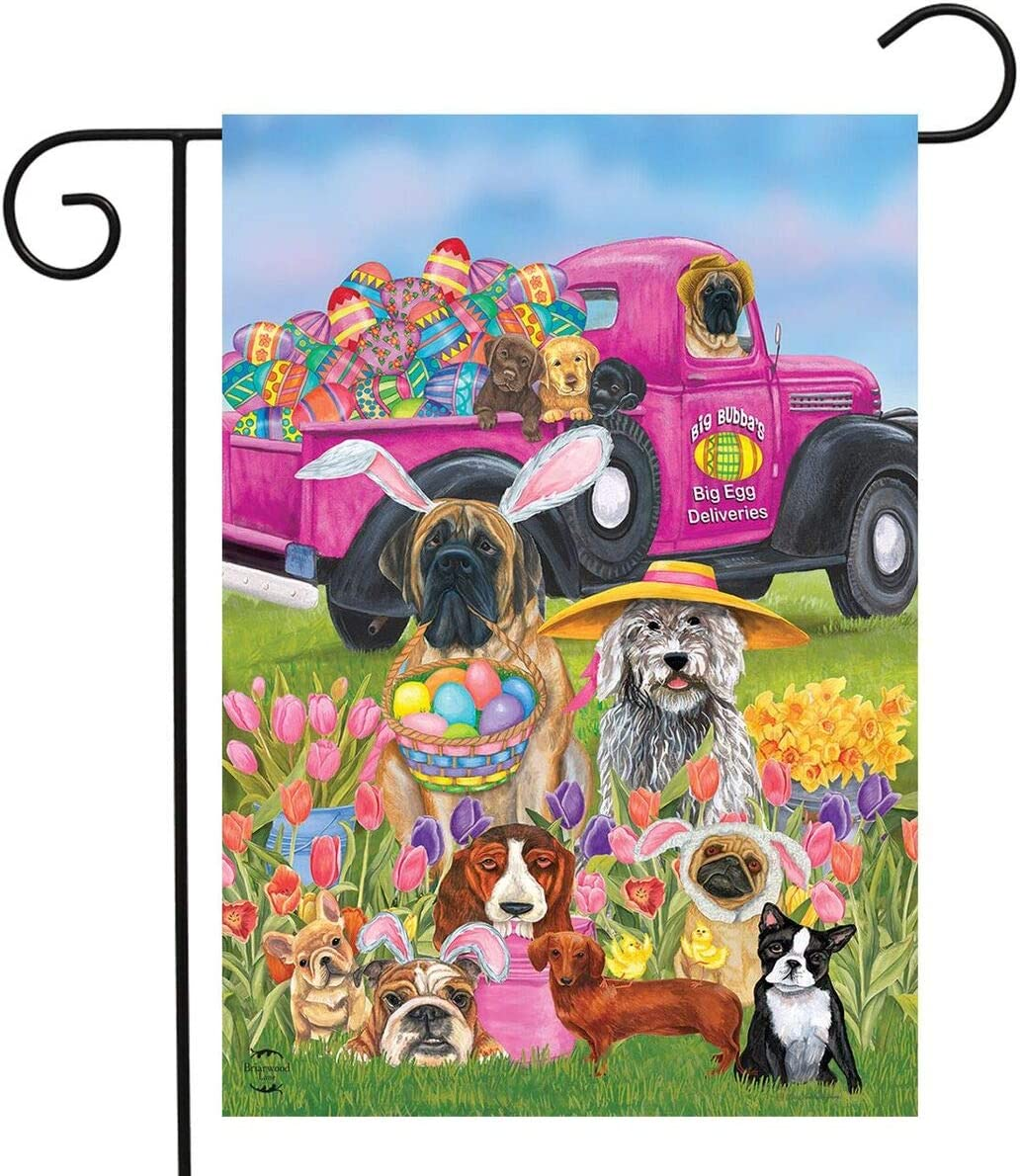 Briarwood Lane Easter Dogs Holiday Humor Garden Flag Decorated Eggs 12.5