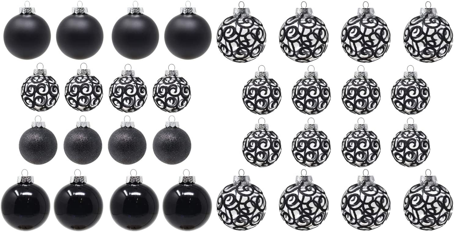 Sleetly Black Christmas Ball Ornaments, Assorted Sizes, Bundle Set of 32
