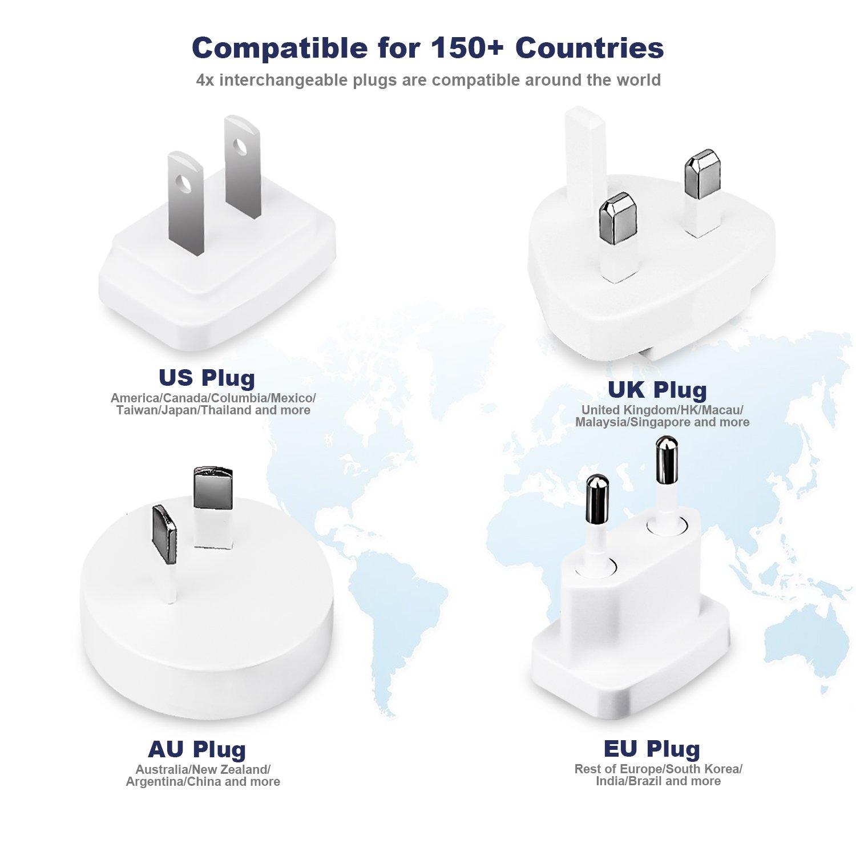 Cargador de Viaje Adaptador Enchufe de Viaje Universal Internacional con 4 Puertos USB para US EU UK AU acerca, 5V-4A(Max), y Seguridad de Fusibles para el ...