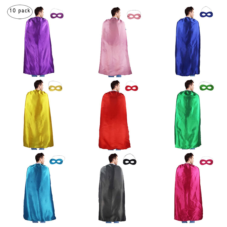 D.Q.Z Adults Superhero Capes and Masks Set Costume for Men Women Dress up Party Favors,10 Pack ''