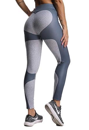 FITTOO Legging de Sport Femme Pantalon Yoga Collant Fitness Taille Haute  Amincissant Tulle Gym Jogging Pantalon 065a6de875a
